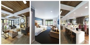 3 interior renderings of the new Ronald McDonald House: one of the living room, one of a bedroom, and one of the kitchen