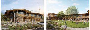 Two exterior renderings of new Ronald McDonald House: one of the front and one of the back with the courtyard